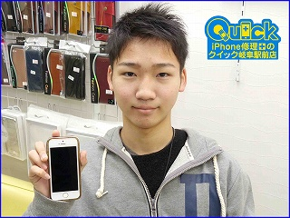 ☆iPhoneSEの液晶交換修理に岐阜市内よりご来店!アイフォン修理のクイック岐阜