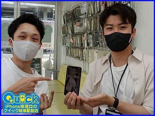 ☆岐阜市よりiPhone XSの画面割れ修理にご来店~♪アイフォン修理のクイック岐阜